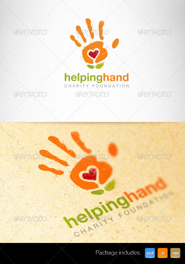 Helping Hand Charity Foundation Creative Logo - Nature Logo Templates