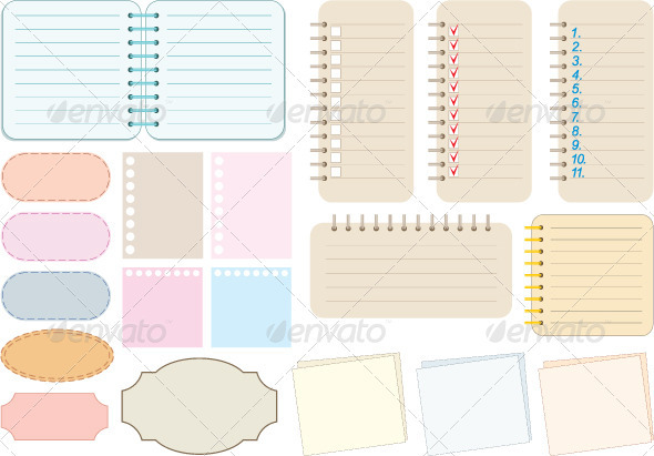 GraphicRiver Scrapbook elements Paper and notebooks 2354653