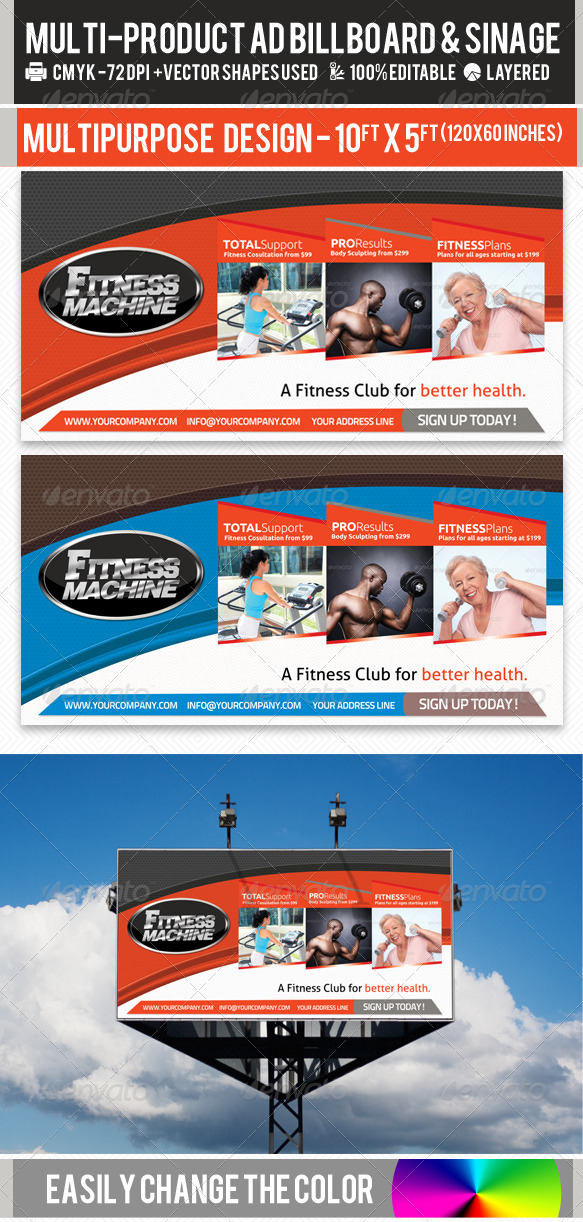 Multi-Product-Ad-Sinage-Billboard PSD Template - Signage Print Templates