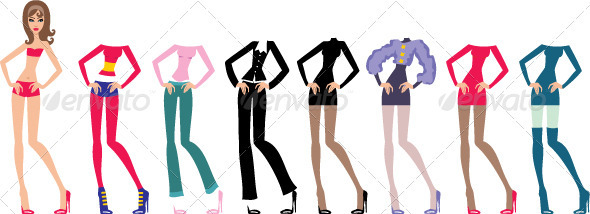 Young beautiful paper dolls with clothes set - People Characters