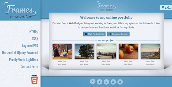 ThemeForest Frames Horizontal Single Page Template 1928381