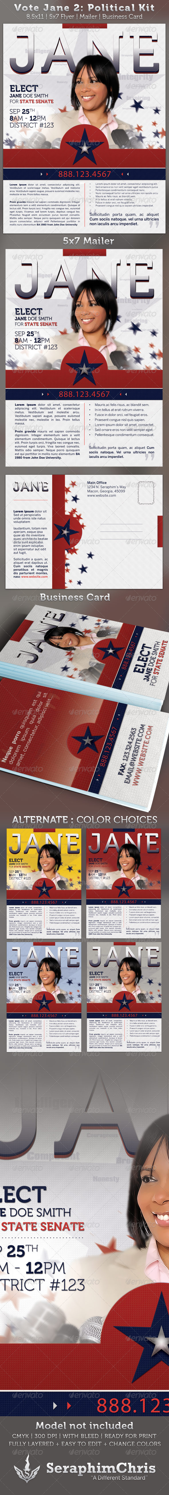 GraphicRiver Vote Jane 2 Political Flyer Template Kit 2343774