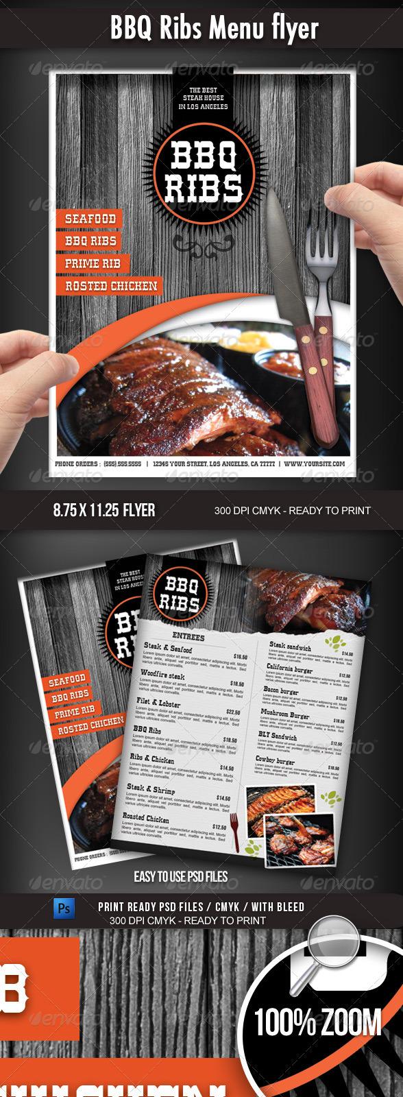 GraphicRiver BBQ Restaurant Menu flyer 2358114