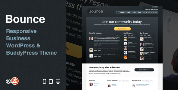 ThemeForest Bounce Responsive Business WP & BuddyPress Theme 2324726