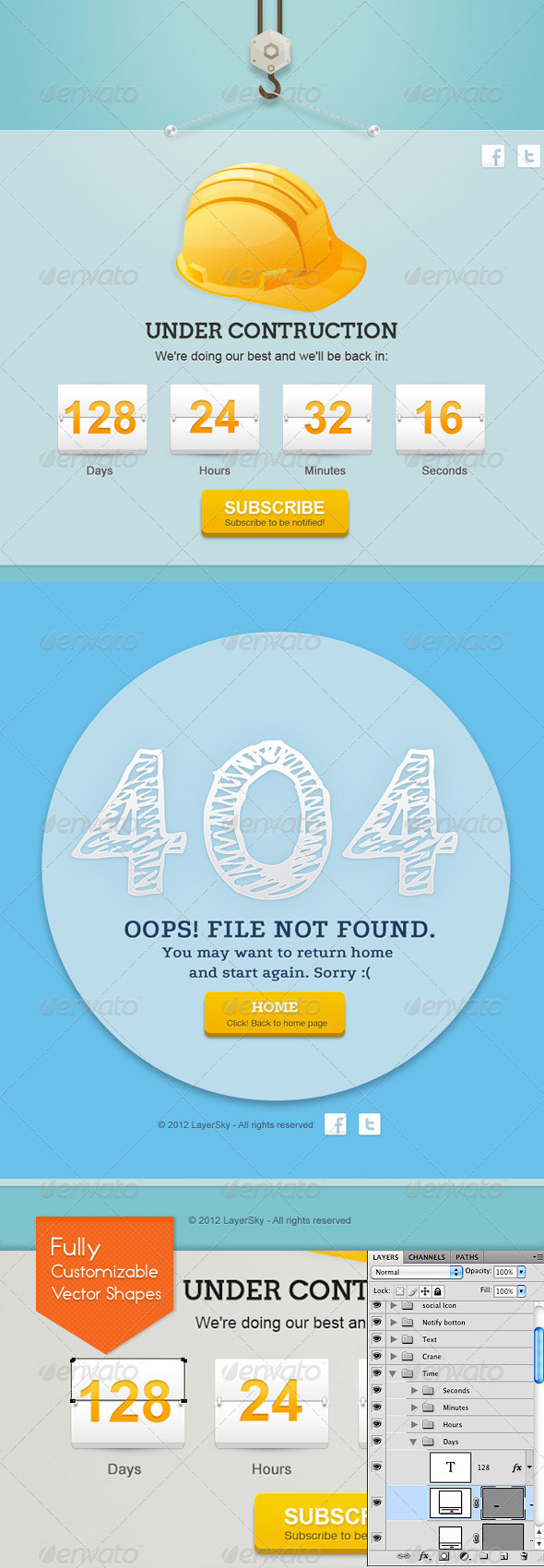 Sky Error 404 And Under Construction Page - 404 Pages Web Elements