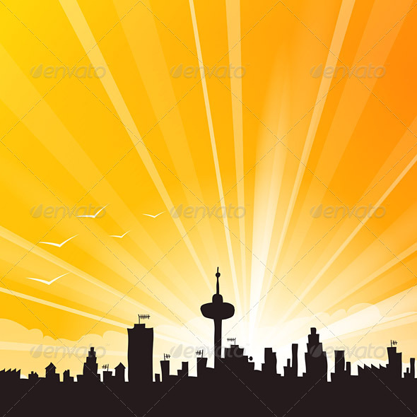 Yellow City Skyline - Landscapes Nature