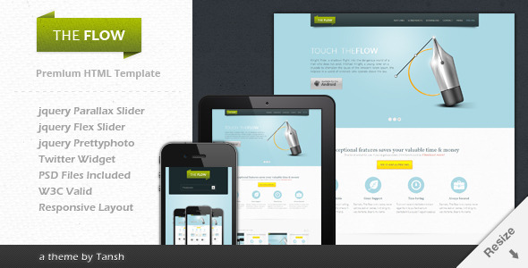 ThemeForest The Flow Responsive One Page App Template 2359577