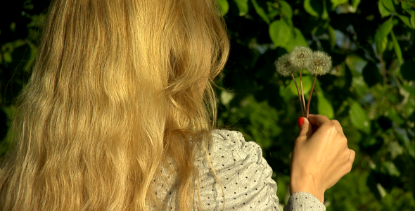Girl Blows Dandelion Slow Motion