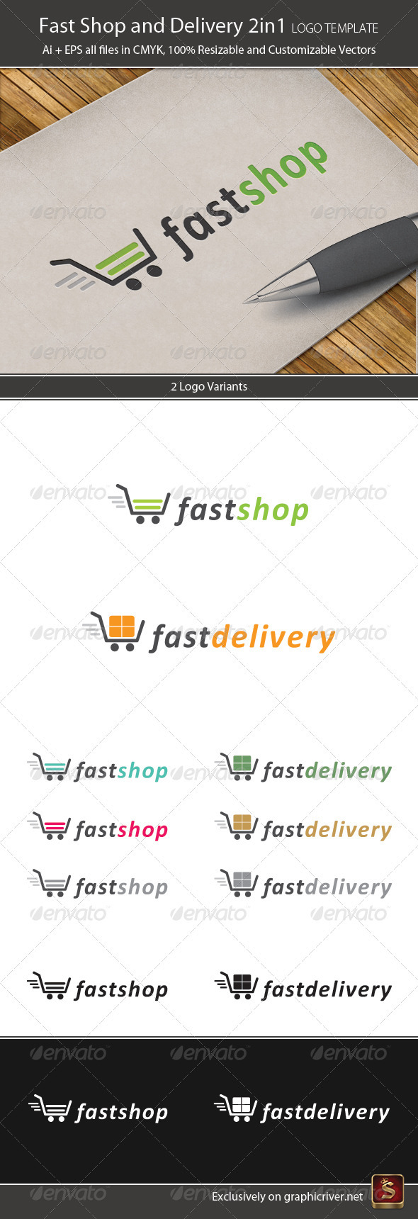 Fast Shop And Delivery 2in1 Logo Template - Vector Abstract