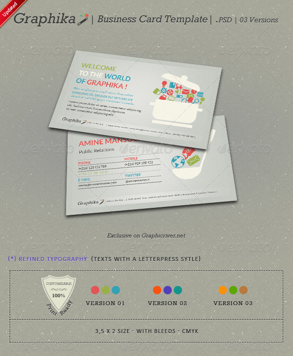 Graphic River Graphika Business Card Template Print Templates -  Business Cards  Creative 592390