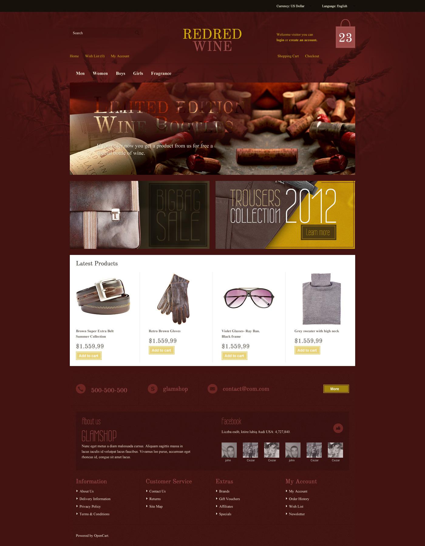 GlamShop Modern OpenCart Theme