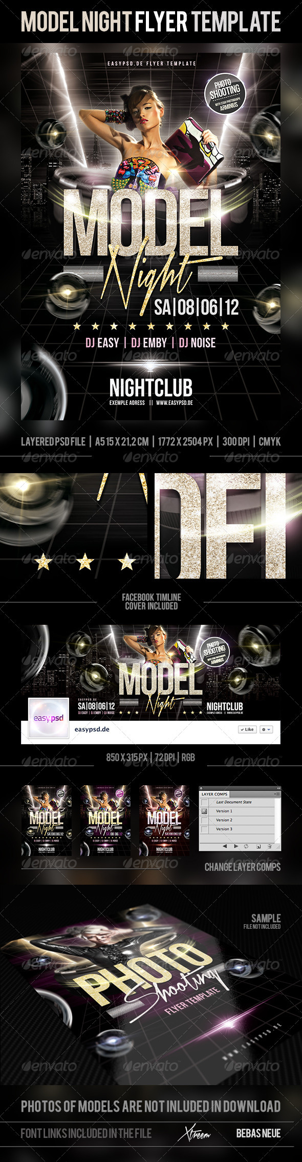 Model Night Flyer Template - Clubs & Parties Events