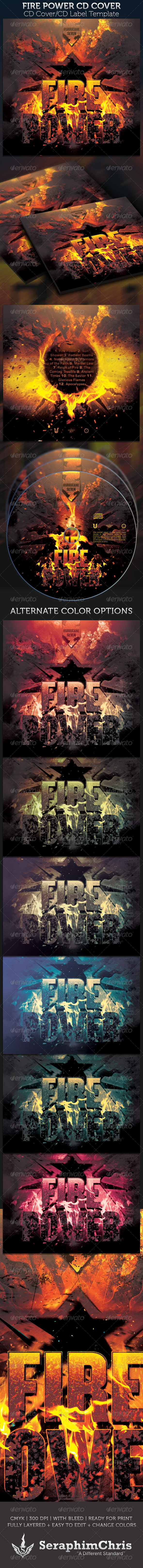Fire Power CD Cover Template - CD & DVD artwork Print Templates