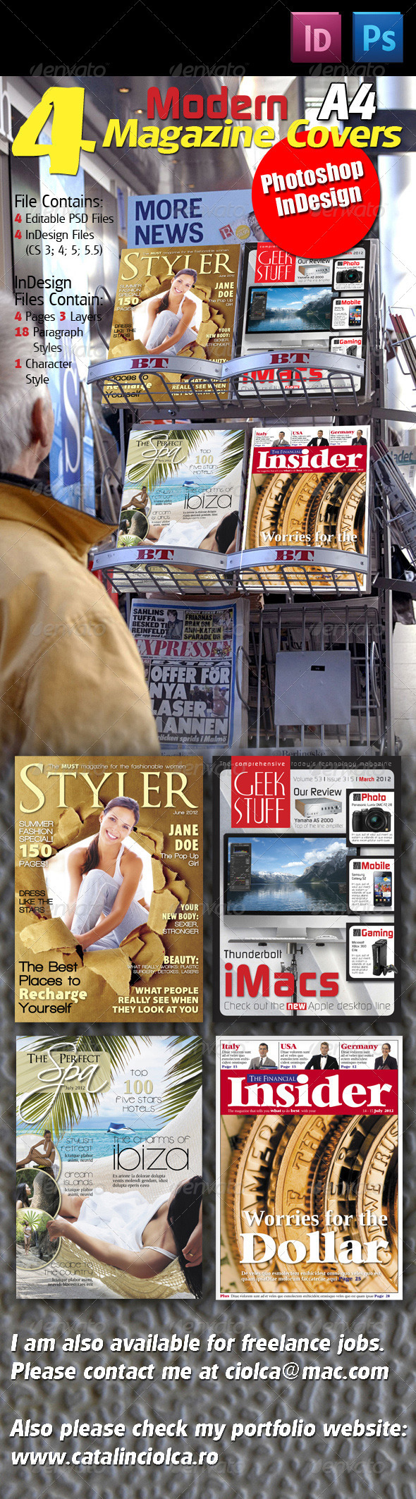 GraphicRiver 4 Modern Magazine Covers 575692