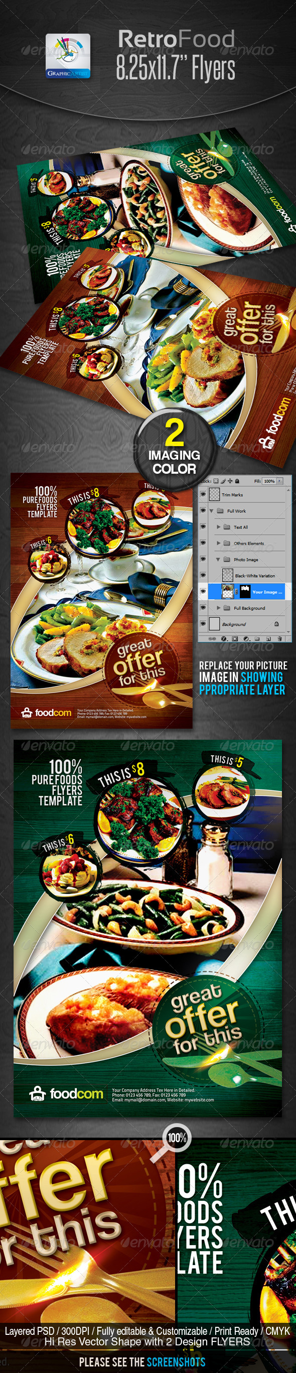 GraphicRiver Retro Restaurant Food Flyers 2368709