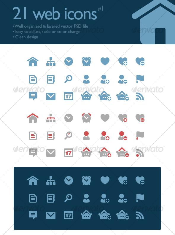 GraphicRiver 21 web icons 81471