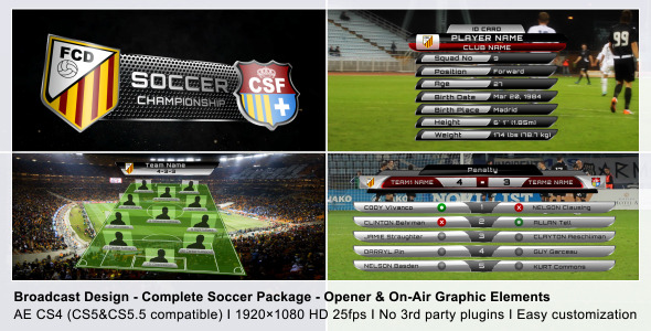 After Effects Project - VideoHive Broadcast Design Complete On-Air Soccer Package 2368743
