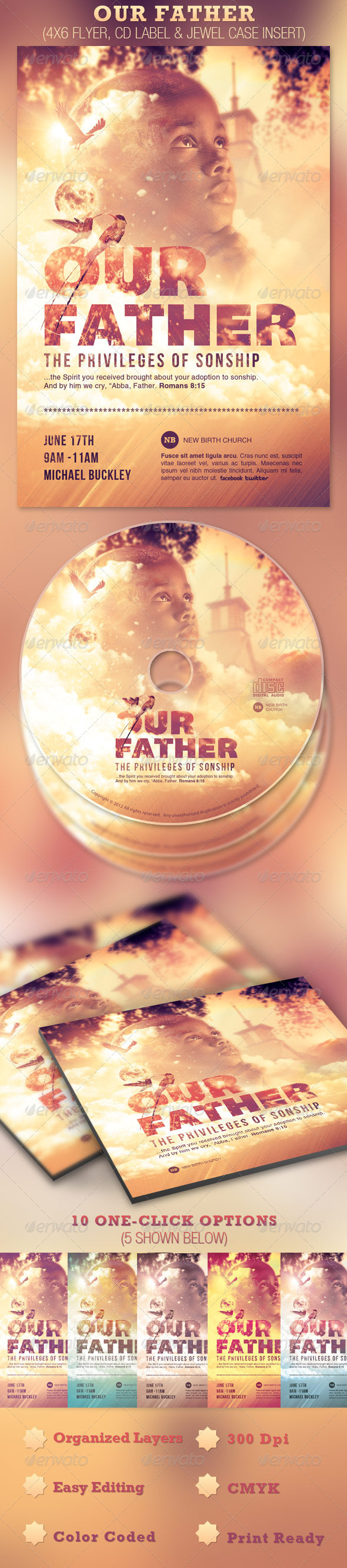 GraphicRiver Our Father Flyer and CD Template 2369180