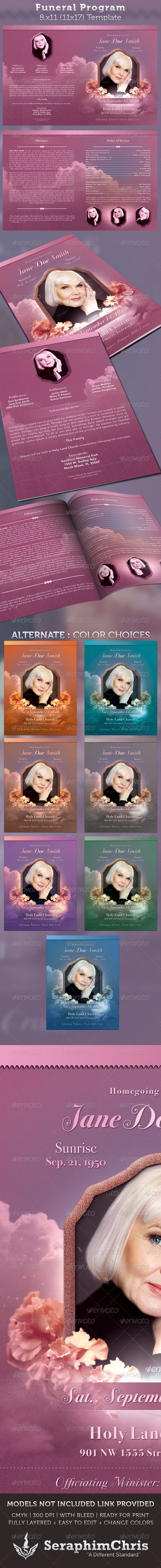 Funeral Program Full Page Bi-Fold Template - Church Flyers