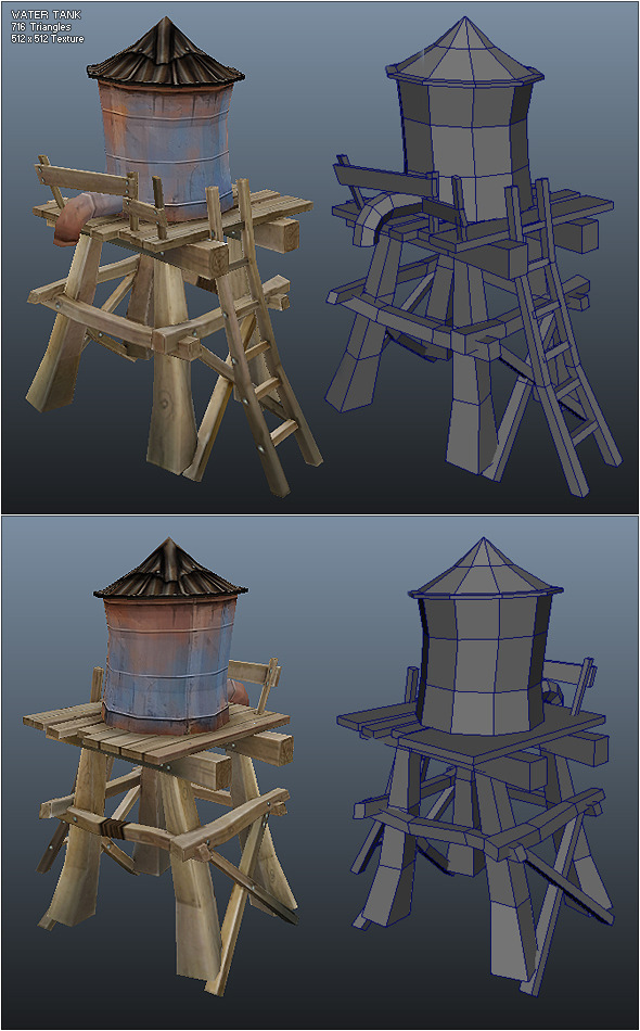 Low Poly Water Tank - 3DOcean Item for Sale