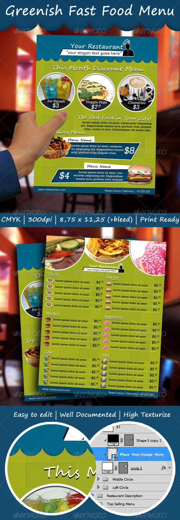 Greenish Fast Food Menu - Food Menus Print Templates