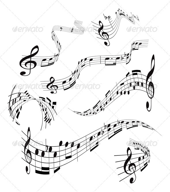 Set of musical notes staff - Abstract Conceptual