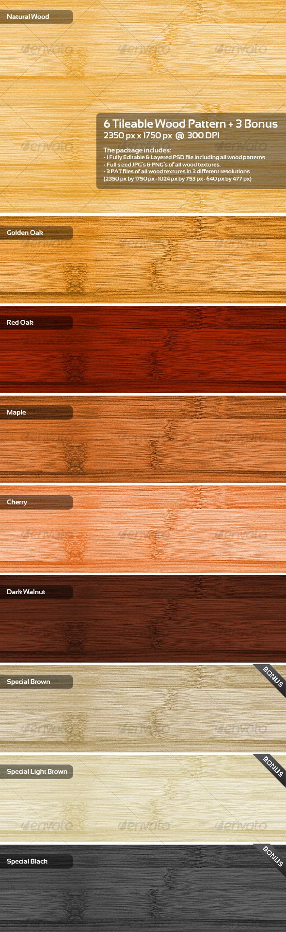 6 Tileable Wood Pattern + 3 Bonus - Photoshop Add-ons