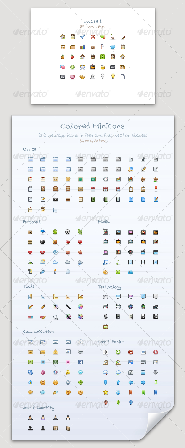 Colored Minicons - Professional Pixels for Web/App - Web Icons