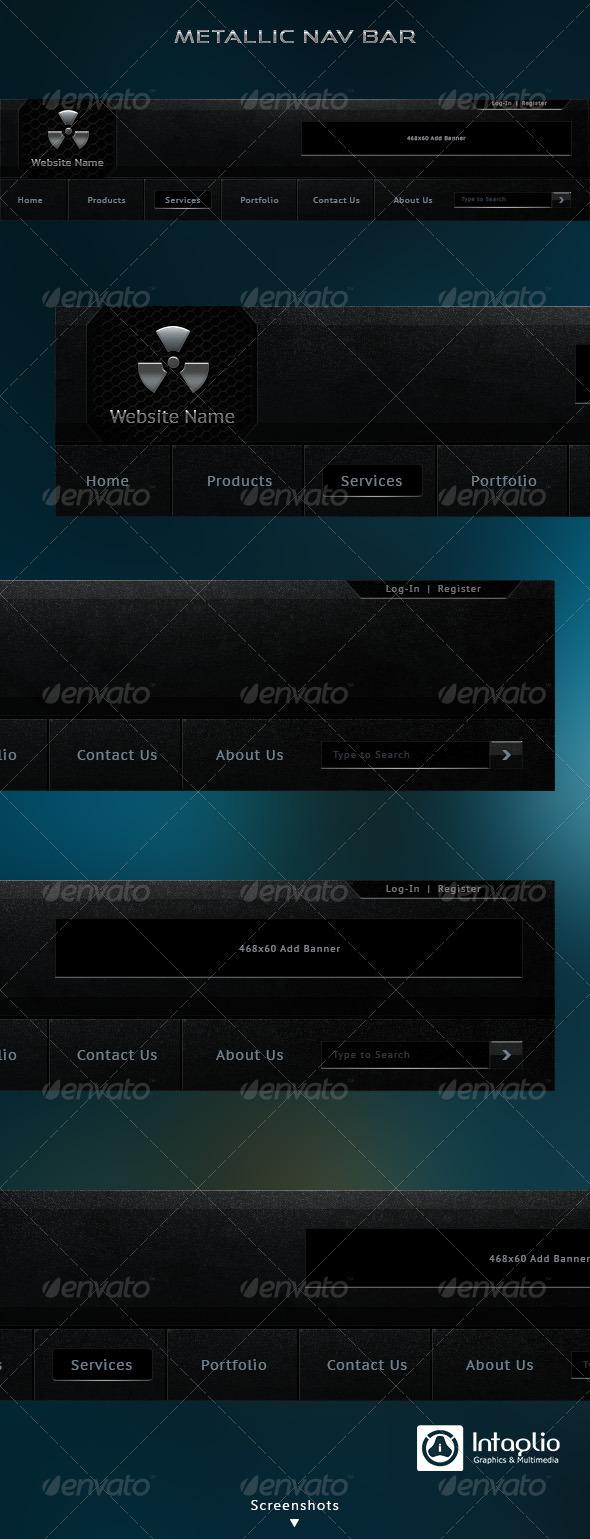 Metallic Navigation Bar - Navigation Bars Web Elements