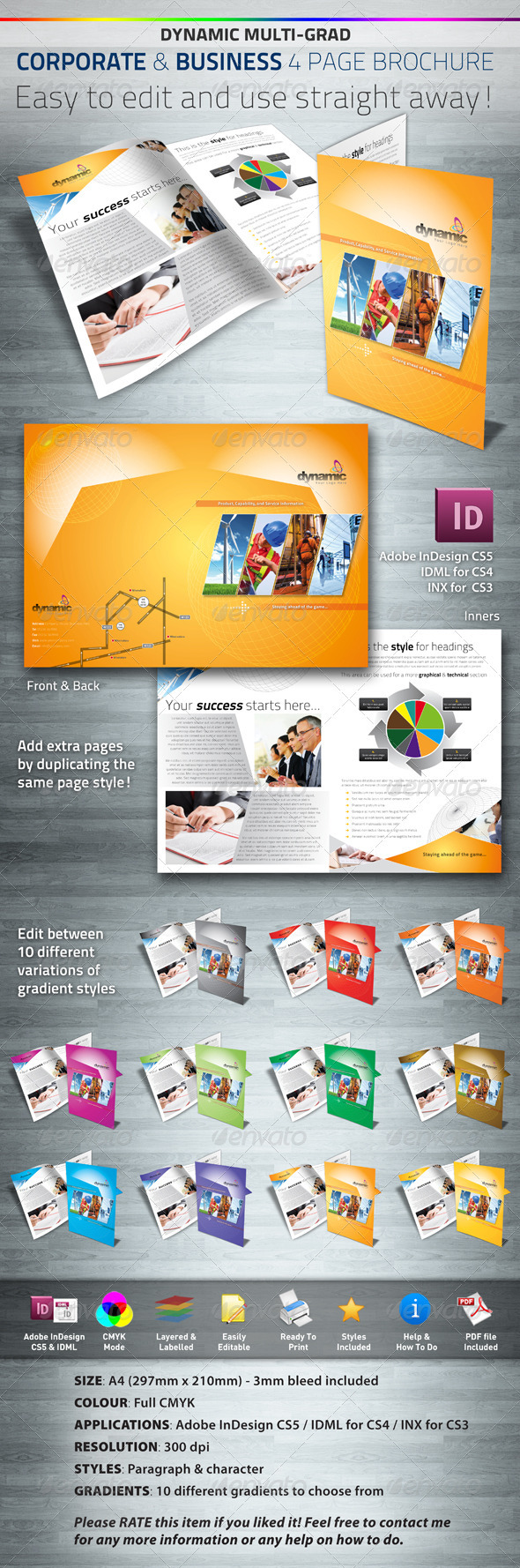Dynamic Corporate & Business 4 Page Brochure - Corporate Brochures