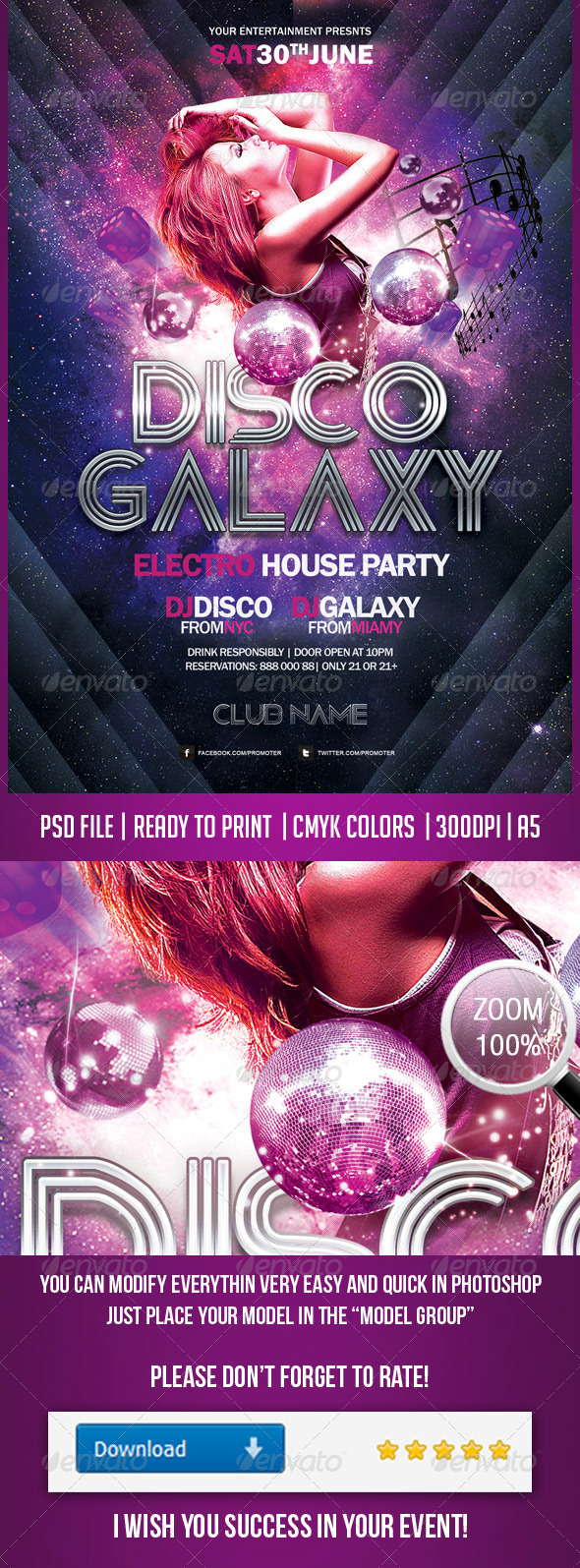 Disco Galaxy Electro Party Flayer - Clubs & Parties Events