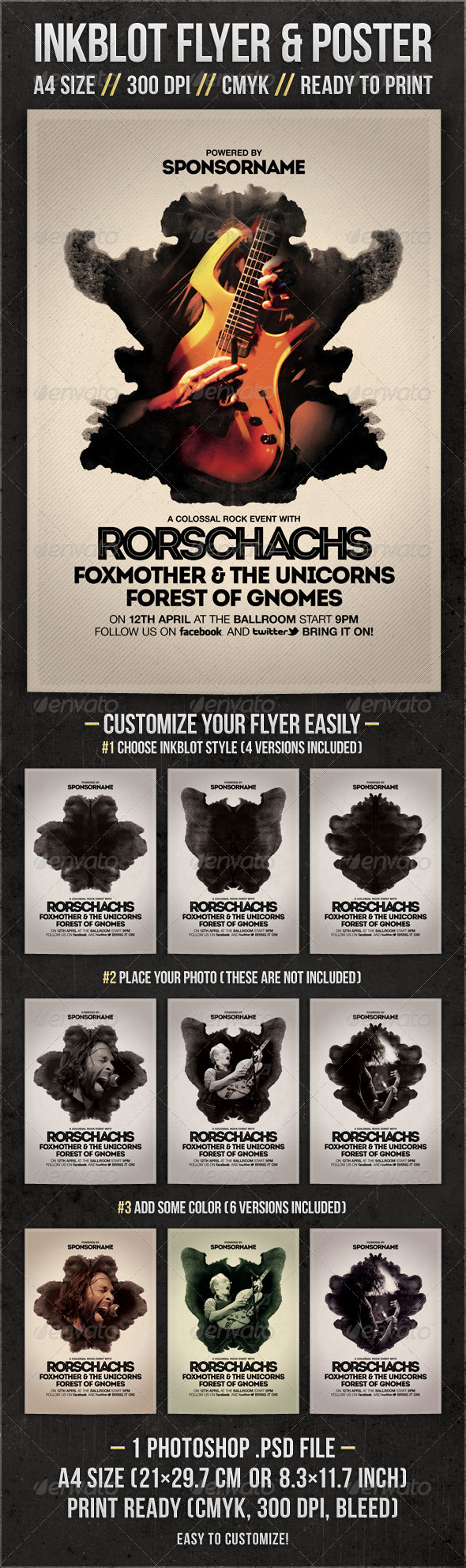 Inkblot Rock Flyer & Poster - Concerts Events