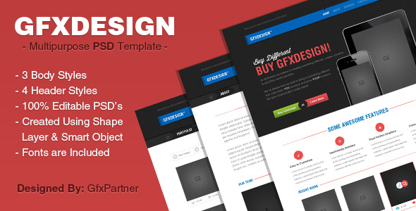 GfxDesign Unique & Creative PSD Template