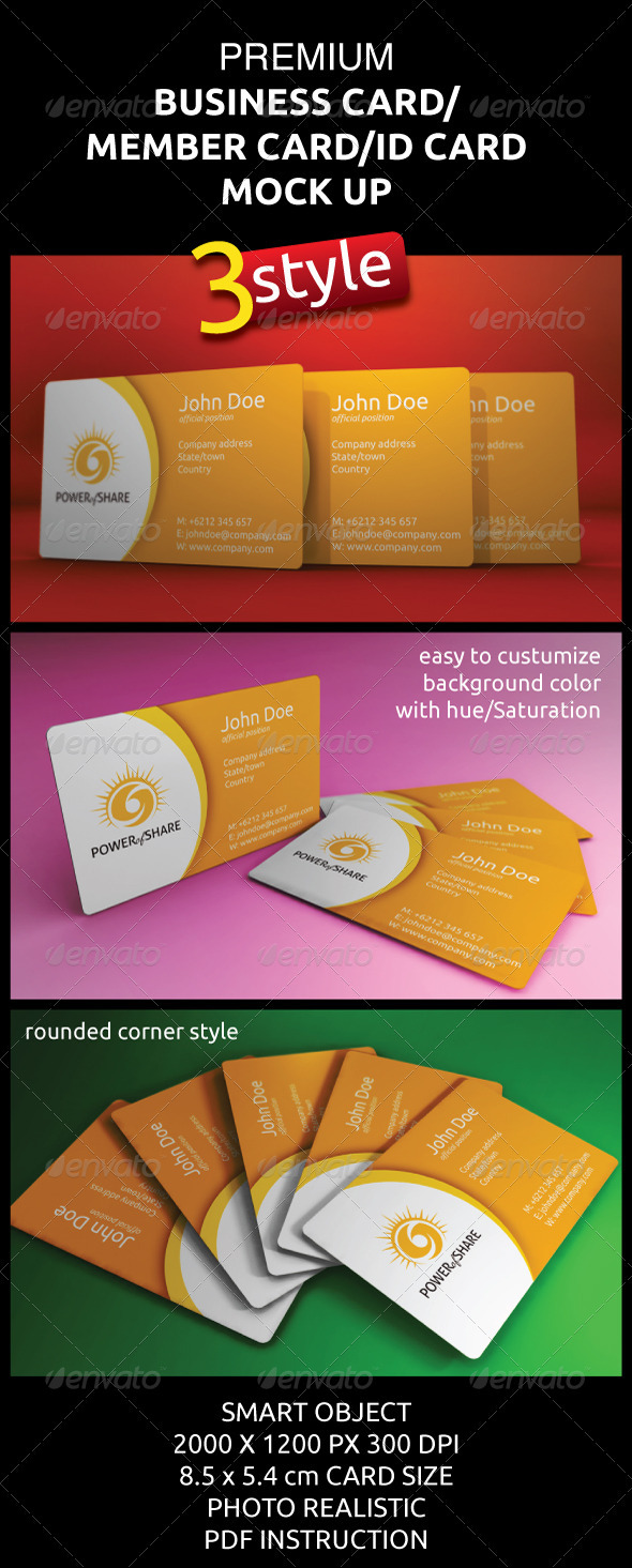 GraphicRiver Photorealistic Business Member ID Card Mock-Ups 2380209