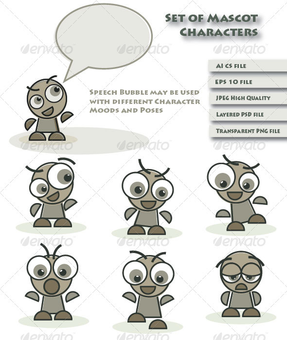 Mascot Characters and Speech Bubble - Characters Vectors