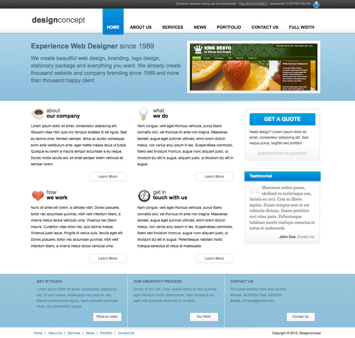 Designer portfolio elegant template by plentong themeforest for Company portfolio template doc