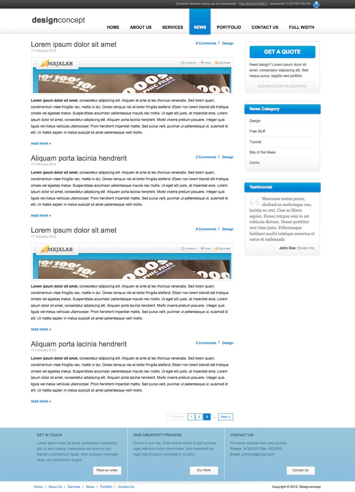 Designer Portfolio Elegant Template - Designer Portfolio Elegant Template (3 Colors) - News