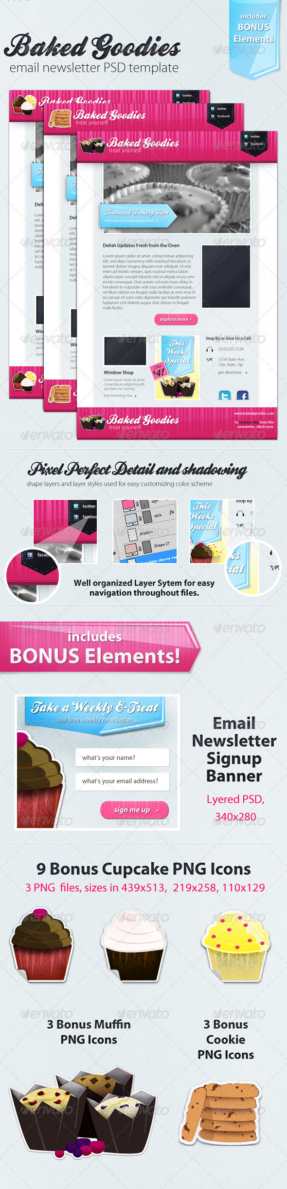 GraphicRiver Baked Goodies Email Newsletter PSD Template 263353