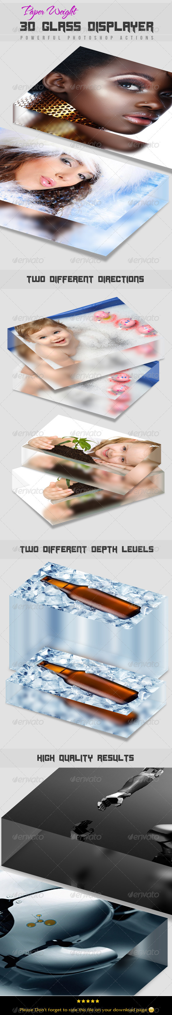 Paper Weight 3D Glass Displayer - Photo Effects Actions