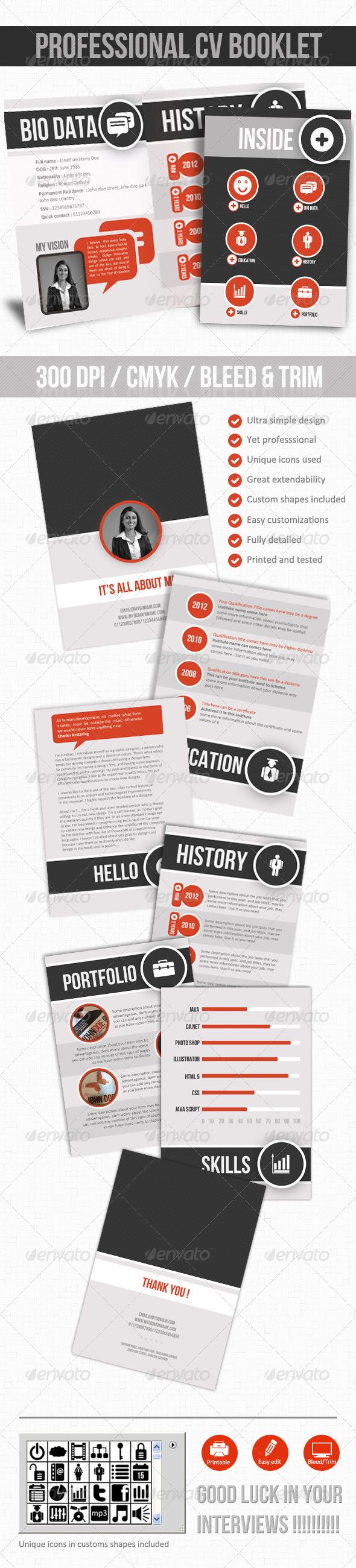 GraphicRiver Professional CV Booklet 2383410