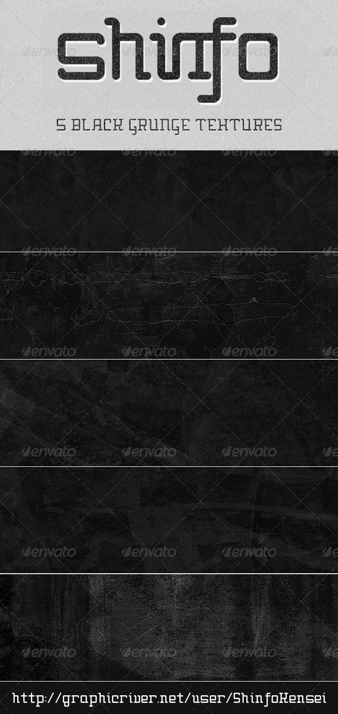 GraphicRiver Black Grunge Texture 5 Pack 185912