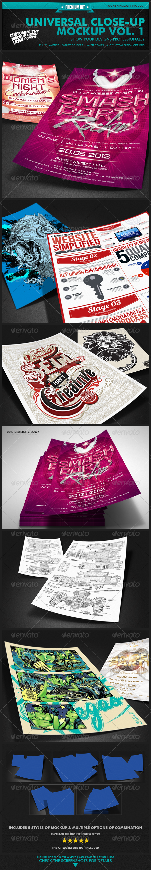 Universal Closeup Mockup Vol. 1 - Premium Kit - Miscellaneous Print