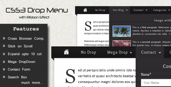 CSS3 Drop Menu with Ribbon Effect
