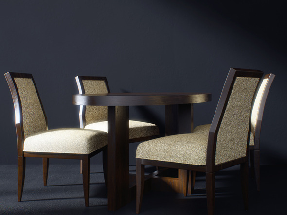 3DOcean Realistic Table and Chairs Model with Materials 2385303