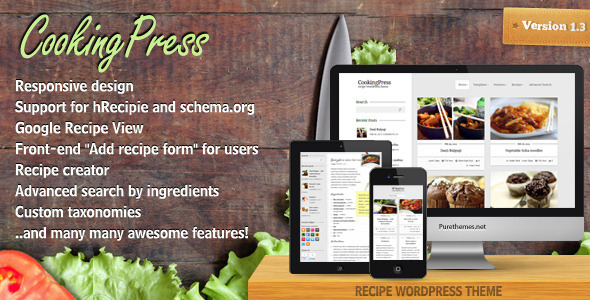 ThemeForest CookingPress Recipe & Food WordPress theme 1718890