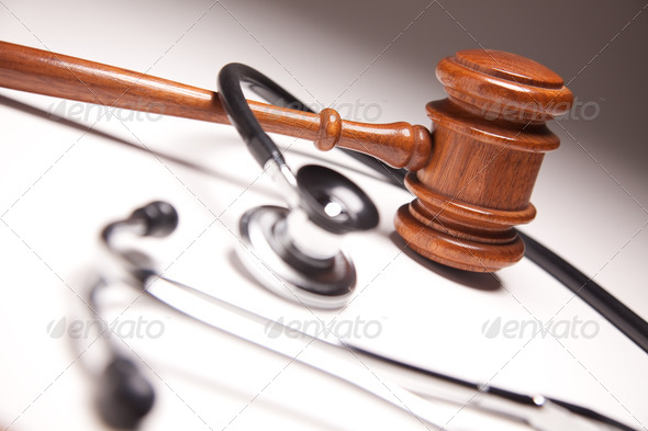 PhotoDune Gavel and Stethoscope on Gradated Background 269330