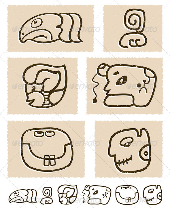 Aztec Style Comic Icon Set - Decorative Symbols Decorative