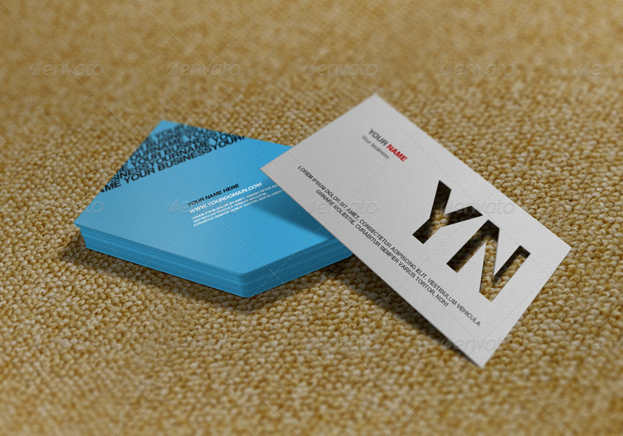 Die Cut Business Card Mockup by artbees