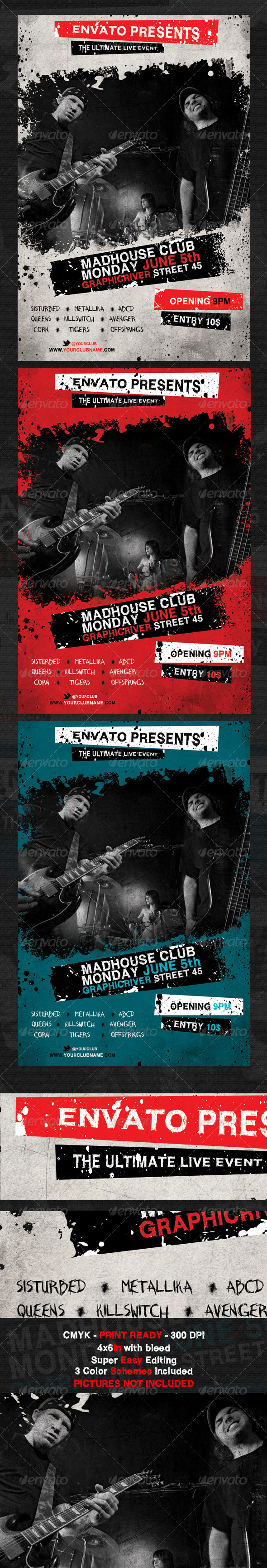 GraphicRiver Madhouse Club Flyer Template 2376616