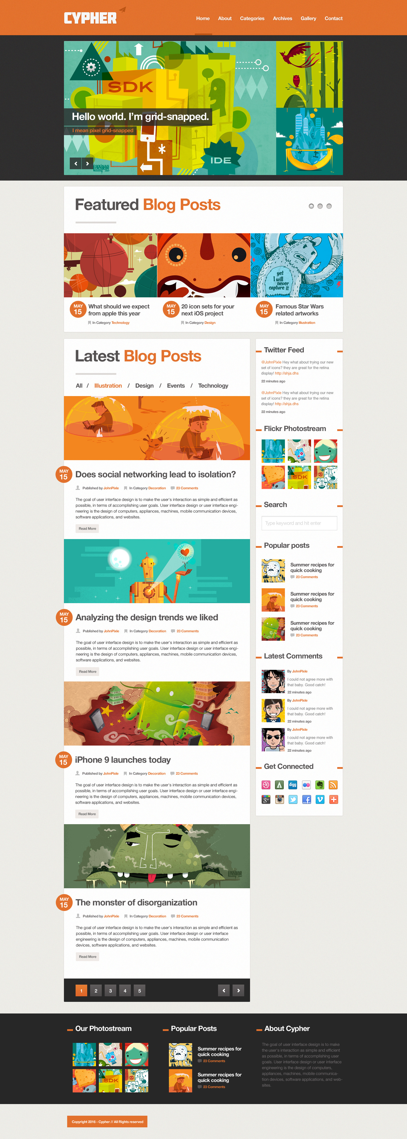 Cypher - A bold Blog / News .PSD theme